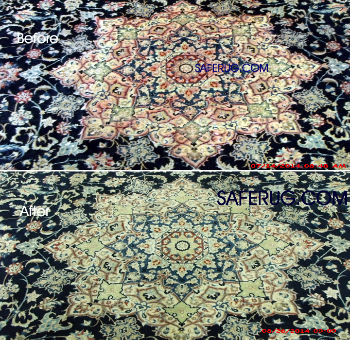 Color Run Stain removal area rug restoration